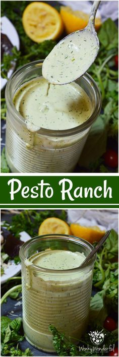 Homemade salad dressings are simple yet so much more flavorful than store bought. This Pesto Ranch Dressing Recipe is no exception. Bright basil pesto flavors blended with buttermilk ranch. This is perfect on salads or served as a pizza dip!