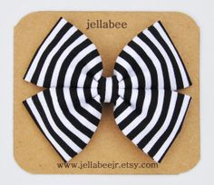 Double Stack Fabric Bow Clip or Headband / Black by jellabeejr, $7.00