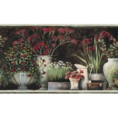 Brewster Home Fashions Pure Country Frema Still Life x Floral Embossed Border Wallpaper Color: Brown