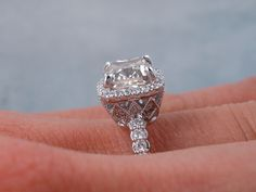 This is our elegant 2.00 ctw Cushion Cut Diamond Engagement Ring with a spectacular 1.52 ct Cushion Cut J Color/SI2 Clarity, Clarity Enhanced (Fracture Filled) Center Diamond. It is set in a fabulous basket setting made of 14K White Gold and listed on our website for only $4,290. www.bigdiamondsusa.com