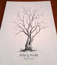 """18"""" by 24"""" Large Vertical Wedding Thumbprint Tree, Wedding Guest Book Alternative. FREE SHIPPING on Etsy, $79.00"""