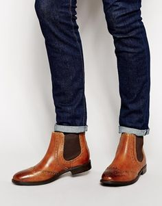 ASOS Brogue Chelsea Boots in Leather