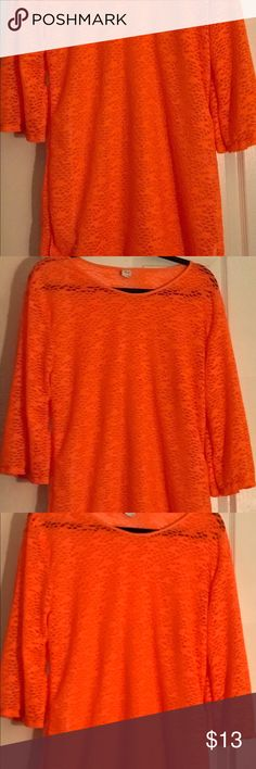 Bright Orange Top With Lacey Material This beautiful top is sure to stand out by its bright, gorgeous color. Pair with leggings and a cami underneath or wear as a flowy dress with belt around it or let it hang and be!  Also, you can pair it up over your favorite bath in suit to sure make a fashion statement.... It's see through capability also makes it sexy yet classy, wear with bra or crop top underneath too.  Never worn got as a gift Tops Blouses
