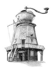 (Redmer Hoekstra) Tags: coffee terschelling waddenzee friesland molen illustratie windmolen formerum koffiemolen hoekstra redmer