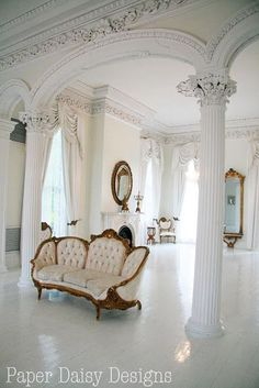 love all the architectural elements and the sofa is wonderful also! Victorian Home Decor, Victorian Homes, Royal Room, Antebellum Homes, Classic Architecture, Interior Decorating, Interior Design, Romantic Homes, Architectural Elements