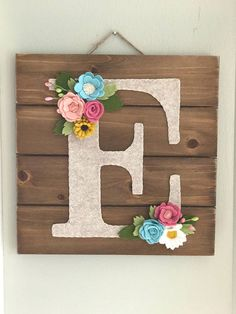Personalized Nursery Wall Art with Felt Flowers, wood wall hanging, letter wall decor, woodland nurs Letter Wall Decor, Nursery Letters, Nursery Wall Decor, Nursery Art, Decorative Letters For Wall, Bedroom Decor, Personalized Wall Art, Personalized Baby Gifts, Felt Letters
