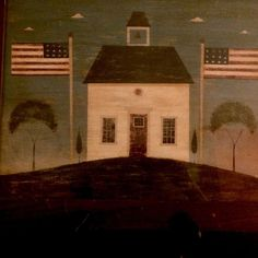 Warren Kimble Print - Schoolhouse in the Country w/Two Flags (Retired) #Country