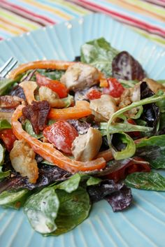 Paleo Warm Chicken BLT Salad | Tessa the Domestic Diva