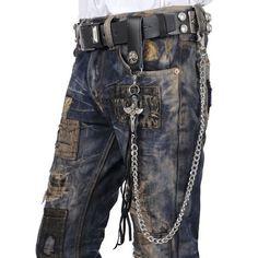 Men Black Metal Leather Cyber Goth Punk Rock Fashion Jeans Pants Chain  SKU-71117015