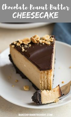 Chocolate Peanut Butter Cheesecake on an Oreo cookie crust. The rich peanut butter filling is topped with chocolate ganache. #bakedbyanintrovertrecipes #chocolate #cheesecake #peanutbutter