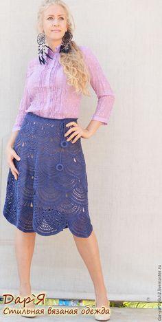 """Купить """"Сирена"""" Шелковая вязаная юбка - юбка, вязаная юбка, шелковая юбка, юбка из шелка"""