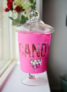 Candy Jar: Personalize any jar by adding a Stenci-Mask lab...(Visit Hazel And Ruby for more details)