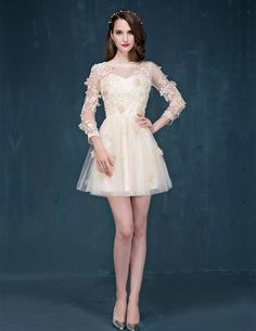 Champagne Sleeve Short Prom Dress Lace Cocktail Dress Tulle Homecoming Party Dress Wedding Guest Dre on Luulla