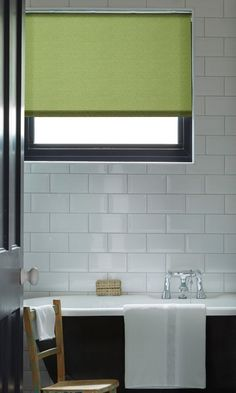 Bright colours can help lift a monochrome room. Make a feature by keeping the rest of the interior black and white. Our Milford Moss roller blind adds a great pop of colour into this room. Monochrome Interior, Monochrome Color, House Blinds, Blinds For Windows, Waterproof Blinds, Discount Blinds, Bathroom Blinds, Bathrooms