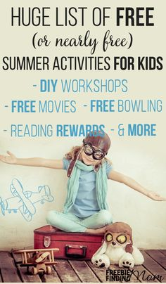 Are the kids bored? They wont be after you peruse this HUGE list of FREE summer activities for kids. Here youll find fun yet educational ideas like FREE movie programs places to go bowling for FREE DIY crafts and much more. Summer Fun For Kids, Free Summer, Summer Activities For Kids, Diy For Kids, Cool Kids, Kid Activities, Indoor Activities, Summer Reading Program, Business For Kids