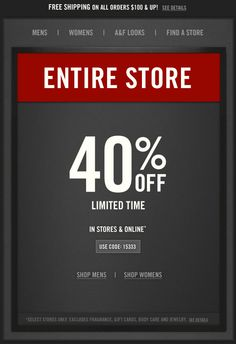 bb89d36752de Pinned June 7th  40% off everything at Abercrombie   Fitch