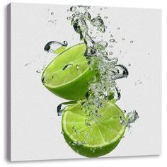 Lime Falls into Water Art Print on Canvas East Urban Home Wall Art Pictures, Print Pictures, Frames On Wall, Framed Wall Art, Canvas Art Prints, Painting Prints, Jugo Natural, Fruit Photography, Levitation Photography