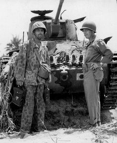 Type 97 Shinhoto Chi-Ha (Type 1 47 mm L/53,7)    : Marine General Thomas Watson with another Marine in front of an abandoned Japanese Type 95 Ha Go light tank from the 9th Tank Regiment. The photo was taken after the June 17/18 1944 tank battle on Saipan--the largest of the Pacific War.