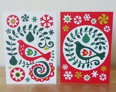 2 x Partridge in a Pear Tree Christmas Cards Scandinavian Eastern European Folk Art Fran Wood Design