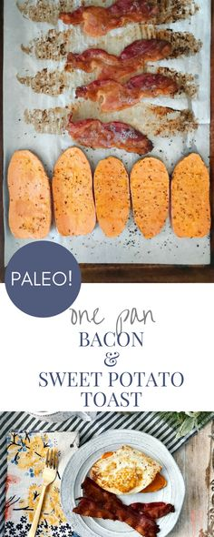 A savory paleo breakfast for ever weekday! One pan sweet potato toast with bacon! Sweet Potato Toast, Sweet Potato Breakfast, Bacon Breakfast, Breakfast Toast, Easy Healthy Breakfast, Breakfast Recipes, Breakfast Ideas, Breakfast Potatoes, Toasted Potatoes