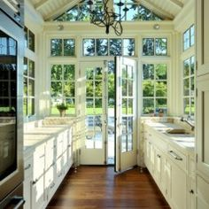 Glass window under gable. This is a room that I will have in my home when that winning lottery ticket finally comes through!