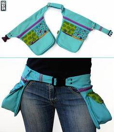 Hip Pouch Perfect for any occasion, this customizable pouch fits comfortably at your hip.Designs By Stitch Soup This machine embroidery in the hoop (ITH) design fits in the hoop, has less than 2000 stitches, and it can be completed in under 30 minute Denim Crafts, Belt Pouch, Craft Bags, Hip Bag, Backpack Bags, Diy Clothes, Purses And Bags, Sewing Patterns, Lingerie
