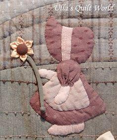 Ulla's Quilt World: Sue Bonnet quilt - wall hanging
