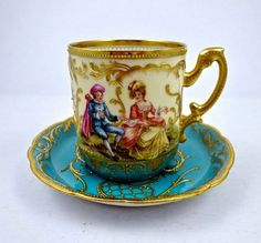 Antique Donath Dresden Scenic Tea Cup & Saucer - Blue and Cream with Gold Gilt, Hand Painted Porcelain with Watteau scenes of lovers in garden landscapes. German Antique Teacup, 1890s, late 19th Century