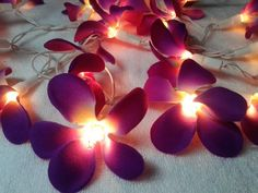 35 Purple Orchid Flower String Lights Wedding Party Floral Home Decor