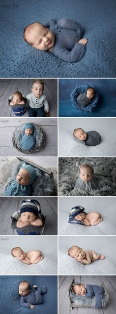 10 day old Cayson and his blue and grey themed studio newborn photography session with Sunny S-H Photography Winnipeg