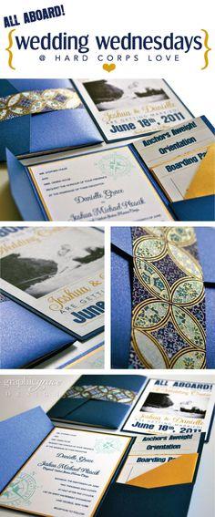Navy & gold nautical wedding invitations by Dani Ploscik; I like the organized pocket, and of course, the navy :-)