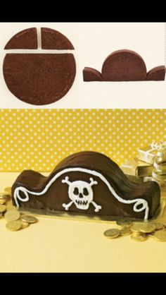Super cute, and super easy to make pirate hat cake!!! Just cut a round cake, like shown, and decorate! Any one can do it! It's simple, yet very impressive!