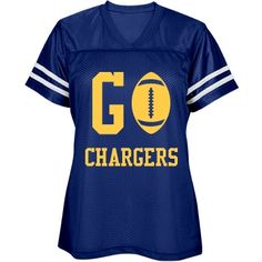 Go Chargers jersey | Show your support in style! Go Chargers! Can be customized with your teams name and colors.