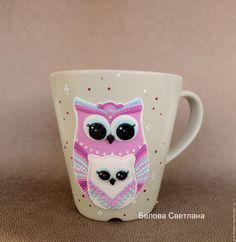 Купить Кружка Совушки Мама и малыш из полимерной глины - бледно-розовый, белый, сиреневый, мятный
