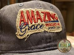 Amazing Grace Rescued Me Rag Cap Joy Of The Lord, Amazing Grace, Fathers Day Gifts, Machine Embroidery, Pixie, Baseball Hats, Cap, Stitch, Beautiful