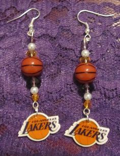 Los Angeles Lakers Inspired Dangle Earrings New by musicissanity, $5.99