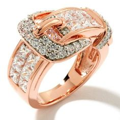 HSN Victoria Wieck Sterling Rose Vermeil Invisible Set Buckle Ring 5.25 $650