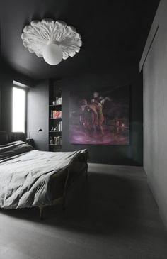 Dark bedroom with art. . #black #walls #decoration #interior #design #room #ceiling #medaillon #painting #bedroom #bed #grey #masculin