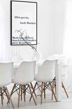 All is Pretty, Andy Warhol Framed Poster Print from King & McGaw | Eames Style Dining Chairs from Cult Furniture | White Kubus 4 Candle Holder from Made Modern | White Round Vases from Cooee and for all the UK fans, they will soon be available from Made Modern!