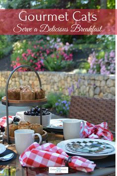 Gourmet cats serve a delicious al fresco breakfast in European Bistro style. #tablesetting #tablescape #summer #Sakura #gingham #Breakfast #recipes