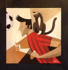 """""""La zampata"""" Acrylic on canvas 40x40 Riccardo Guasco 2014"""