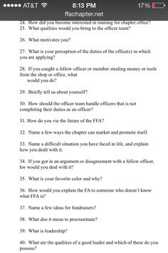 ffa sample leadership officer interview questions ffa showing