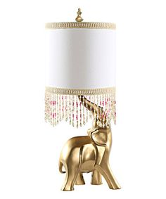 Another great find on #zulily! Goldtone Oro Elephant Lamp & Beaded Shade #zulilyfinds