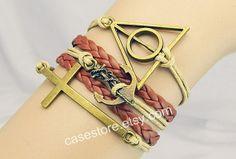 Brown leather braceletAnchor brceletcross by charmcover on Etsy, $8.99