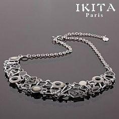 Lujo collar cadena esmaltes Ikita parís statement Collier hoja