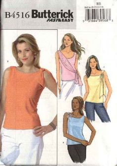 Butterick Sewing Pattern 4516 Misses Size 16-18-20-22 Easy Knit Sleeveless Pullover Tops