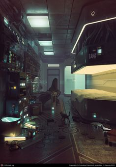 civilianzero: larvalhex: thefairiesscareme: Mercury by Eimer Beautiful cyberpunk/futuistic bedroom. I'd love to live here :D ooohhhHh Can I live here? I want to live here very bad. Arte Cyberpunk, Cyberpunk 2077, Cyberpunk Aesthetic, Arte Sci Fi, Sci Fi Art, Sci Fi Environment, Environment Design, Zbrush, Art Science Fiction