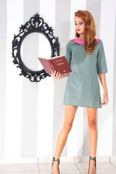 Peter Pan Collar Mini Pastel Green Dress. Grab the last piece on etsy!