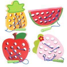 Help your child develop hand-eye coordination and fine motor skills while threading a caterpillar through a piece of fruit. Kids Wear, Children Wear, Wooden Truck, Wooden Baby Toys, Cheap Toys, Five Little, Little Learners, Welcome Back Sign, Early Education