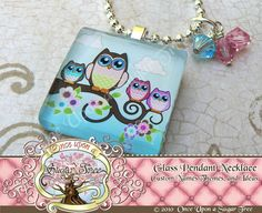 OWL BABIES Mommy Owl with Baby Owl(s) Glass Tile Pendant Necklace with Swarovski Crystals by Once Upon a Sugar Tree